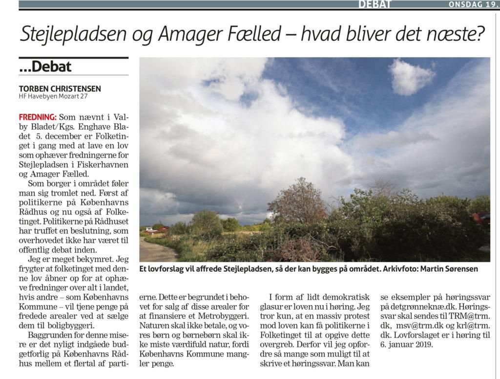 Faksimile af læserbrev i Valby Bladet / Kgs. Enghave Bladet 19. december 2018