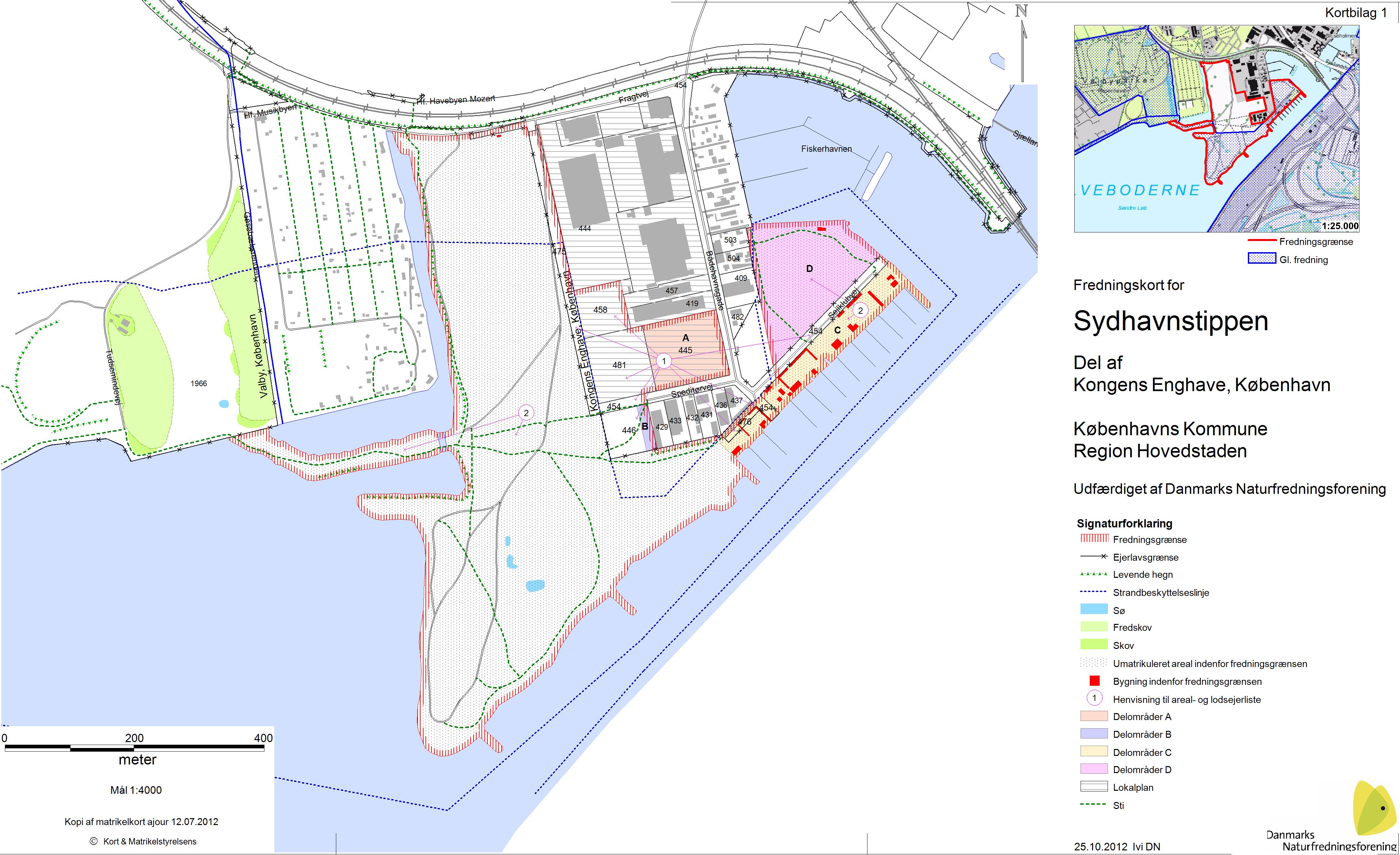 Fredningskort over Sydhavnstippen udarbejdet af Danmarks Naturfredningsforening 2012