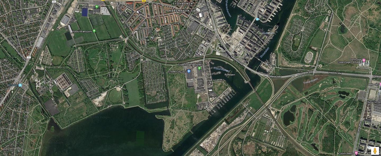 Luftfoto af Syd og Amager Fælled