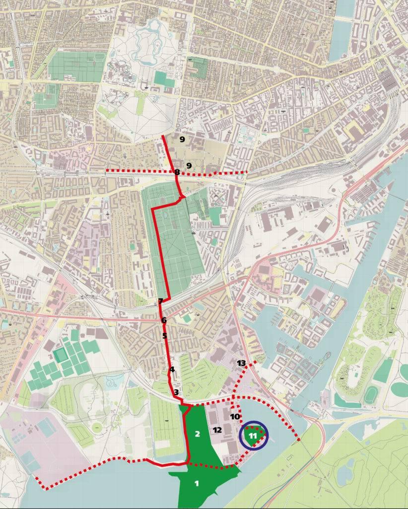 """Kort over Københavns Sydhavn med ændringsforslag til Kommuneplanen fra """"Det Grønne Knæ"""""""